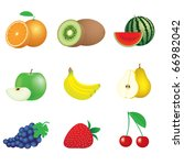 illustration of icons of fruits ... | Shutterstock . vector #66982042