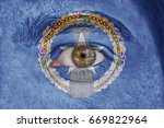 human face and eye painted with ... | Shutterstock . vector #669822964