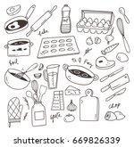 set of cooking doodle design... | Shutterstock . vector #669826339