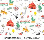 vintage circus doodle seamless... | Shutterstock . vector #669826360