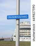 Small photo of IJmuiden, the Netherlands - April 30th, 2017: Aida Sol docked at the Felison Cruise Terminal
