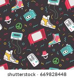 vintage background with roller... | Shutterstock . vector #669828448