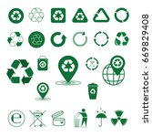 recycle waste symbol green... | Shutterstock .eps vector #669829408