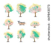 groups of trees isolated on... | Shutterstock .eps vector #669843073
