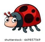 cute ladybug on white...   Shutterstock .eps vector #669857569