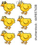 little chicks with different... | Shutterstock .eps vector #669857638