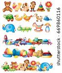 different types of toys... | Shutterstock .eps vector #669860116
