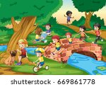children hanging out in the... | Shutterstock .eps vector #669861778