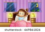 girl going to bed in bedroom...   Shutterstock .eps vector #669861826