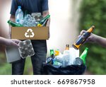 recyclable garbage consisting ... | Shutterstock . vector #669867958