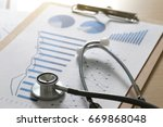 Small photo of financial report chart and calculator Medical Report and stethoscope