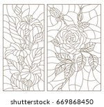 set contour illustrations in... | Shutterstock .eps vector #669868450