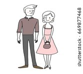 young and cute couple standing... | Shutterstock .eps vector #669877468