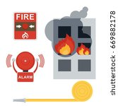 fire and automatic fire alarm.... | Shutterstock .eps vector #669882178