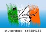 ireland. calligraphic cursive... | Shutterstock .eps vector #669884158