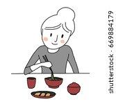 cute woman eating noodles. cute ... | Shutterstock .eps vector #669884179