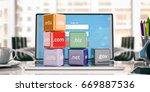 Domain Names Cubes On A Laptop...