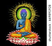 embroidery buddha   elegant...   Shutterstock .eps vector #669891928