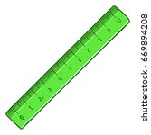vector cartoon green ruler on... | Shutterstock .eps vector #669894208