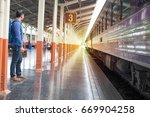 man in train station. | Shutterstock . vector #669904258