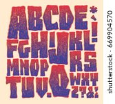 hand drawing alphabet.... | Shutterstock .eps vector #669904570