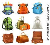 bags set. backpack  schoolbag ... | Shutterstock .eps vector #669908950