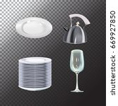 set of realistic dishes objects.... | Shutterstock .eps vector #669927850