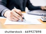 businessman with signature sign ... | Shutterstock . vector #669927898