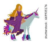 blonde girl riding a white... | Shutterstock .eps vector #669935176