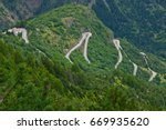 Small photo of The famous hairpin curves of Alpe d'Huez - Tour de France