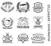 set of bakery labels. bread... | Shutterstock .eps vector #669947710