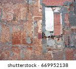 part of old derelict brick wall ... | Shutterstock . vector #669952138