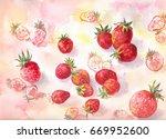 strawberry watercolor... | Shutterstock . vector #669952600