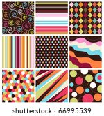seamless patterns with fabric... | Shutterstock .eps vector #66995539