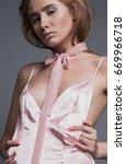 beautiful redhead model posing... | Shutterstock . vector #669966718