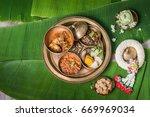 khantok is a pedestal tray used ... | Shutterstock . vector #669969034