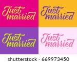 just married  calligraphy ... | Shutterstock .eps vector #669973450