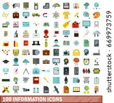 100 information icons set in... | Shutterstock . vector #669973759
