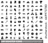 100 disaster icons set in... | Shutterstock . vector #669973780