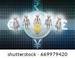 3d people around dollar sign | Shutterstock . vector #669979420