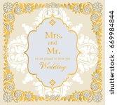 indian wedding invitation card... | Shutterstock .eps vector #669984844