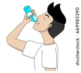 cartoon man drinking water hand ... | Shutterstock .eps vector #669985390