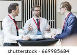 businessman discussing with... | Shutterstock . vector #669985684