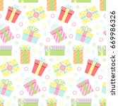 seamless pattern with gift... | Shutterstock . vector #669986326