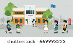 schoolboy is going to school... | Shutterstock .eps vector #669993223