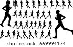 runners silhouettes collection  ... | Shutterstock .eps vector #669994174