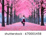 beautiful girl with pink leaves ... | Shutterstock . vector #670001458