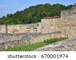 old historical wall  church and ... | Shutterstock . vector #670001974