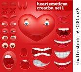 creation set of cartoon heart...   Shutterstock .eps vector #670005538