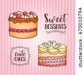 cakes illustration. pastry and... | Shutterstock .eps vector #670010794